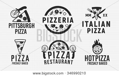 Collection Of 6 Pizza Logo, Emblems, Labels And Badges. Pizzeria, Pizza House, Cafe, Restaurant. Vec