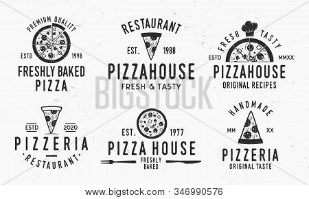 Vintage Pizza Logotypes Isolated On White Background. Pizzeria Emblems Set With Pizza Slices, Chef H