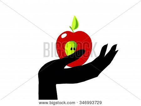 Hand With The Apple. Beautiful Concise Illustration For Your Design