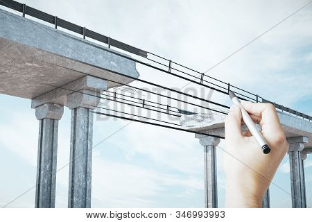 Hand Drawing Destroyed Bridge On Abstract Sky Background. Engineering And Project Concept.