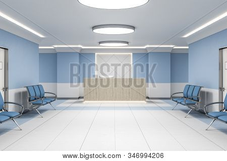 Modern Waiting Room In Blue Hospital Interior With Reception Desk. Medical And Healthcare Concept. 3