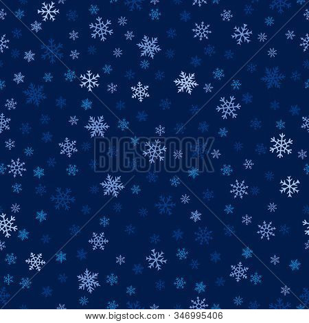 Winter Seamless Pattern. Christmas Background With Delicate Snowflakes Scattered On Blue Backdrop. E
