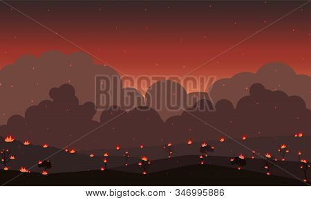 Background Wildfire. Forest In Fire And Sparkle Fire At Night. Vector Illustration.