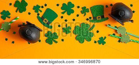 Frame Border Of Shamrock Four Leaf Clovers, Irish Elf Hats, Pots Of Gold, Confetti. Saint Patrick's
