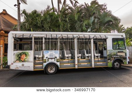 Laie, Oahu, Hawaii, Usa. - January 09, 2020: Polynesian Cultural Center. White Open Public Transport
