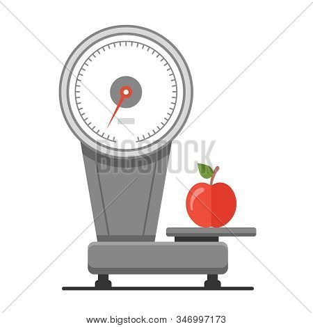 Weigh Apples On The Scales. Healthy Food Market. Flat Vector Illustration.