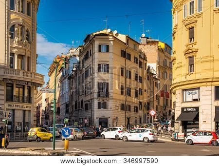 Rome, Italy - November 11, 2018: Colorful Street Of Rome City And Capital Of Italy