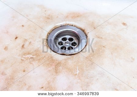 Dirty Unhygienic Kitchen Sink With Limescale And Rust, Dirty House And Kitchen Cleaning Concept.