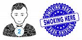 Mosaic 2nd prizer sportsman icon and corroded stamp seal with Smoking Here phrase. Mosaic vector is created with 2nd prizer sportsman icon and with scattered elliptic spots. poster