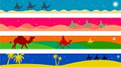 set of four colourful journey of the magi Christmas page border and banner designs poster