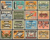 Fishing sport, camping and tourism retro metal signs. Vector fishery equipment, fish and camp tent, flounder and cooking cauldron. Boat crossed paddles, eel and salmon, hooks and baits, rods poster