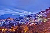 Chefchaouen blue town sunset general view located at northern Morocco poster