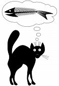 Cat dreams. Fun. Vector illustration. Black-and-white contour. poster