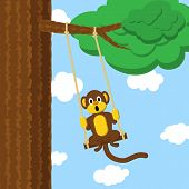 Monkey on a swing in the forest poster