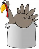 this illustration depicts a tom turkey in a cooking pot. poster