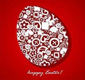 Decorative Easter Egg On A Red Background. Vector Illustration.