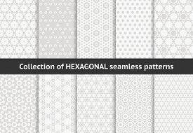Subtle Hexagon Patterns Collection. Vector Geometric Seamless Textures With Hex Shapes, Honeycombs,