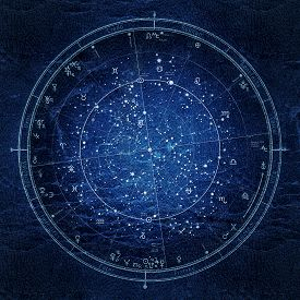 Astrological Celestial Map Of The Northern Hemisphere. The General Global Universal Horoscope On Jan