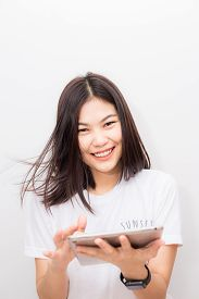 Business Smiling Women With Tablet Computer On White Background