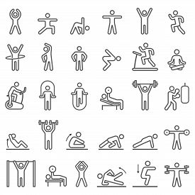 Fitness Exercise Workout Line Icons Set. Vector Illustrations.