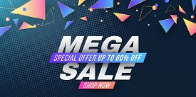 Advertising Web Banner For Mega Sale. Cover For Your Design. Abstract Geometric Random Multicolored