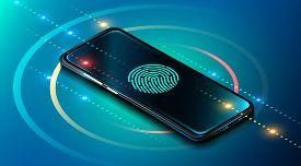 Mobile Data Security Concept. Smartphone With Fingerprint Scanner. Internet Security. Fingerprint Ac