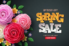 Spring Sale Vector Flowers Background. Spring Sale Text, Colorful Camellia Flowers And Crocus Flower