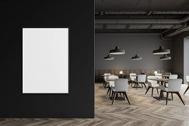 Industrial Style Restaurant With Poster