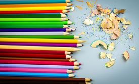 Multicolored Pencils With Wooden Chips