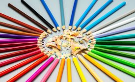 Multicolored Pencils Are Arranged In A Circle Shape With Wooden Chips In The Center