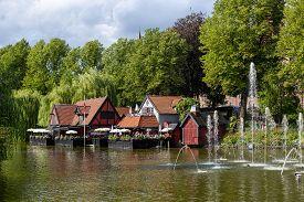 Copenhagen, Denmark - August 10, 2019: Restaurant At A Lake In Tivoli Gardens.