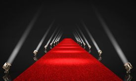 3d render image of an entrance with red carpet and side lights with black background. celebrity and exclusivity concept.