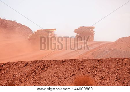 Mining Truck Working In Iron Ore Mines