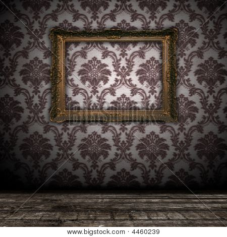 Vintage Grunge Wall Bacground With Empty Gold Paiting Frame