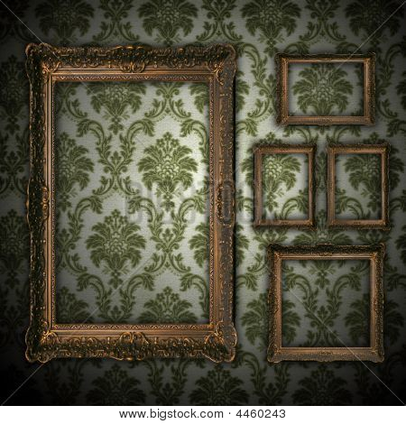Vintage Grunge Wall Background With Empty Gold Paiting Frame