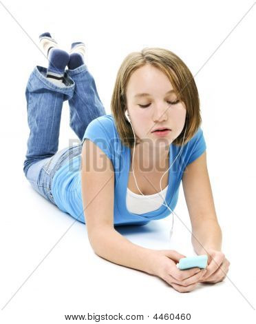 Teenage Girl Listening To Music