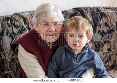 Great-grandmother With Little Boy