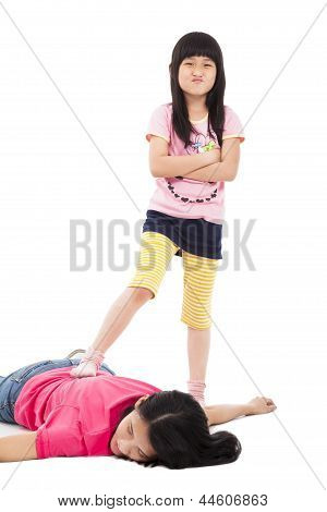 Troublesome Girl And Tired Mother Lying On The Floor