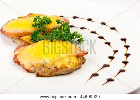 Meat Patty With Bacon And Melted Cheese