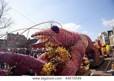 Haarlem, The Netherlands - April 21 2013: Pink Lobster With Flowers At Flower Parade On April 21 201