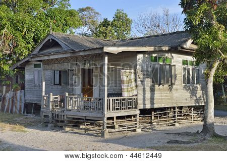 Traditional Malaysian wooden beach houseTraditional Malaysian wooden beach house