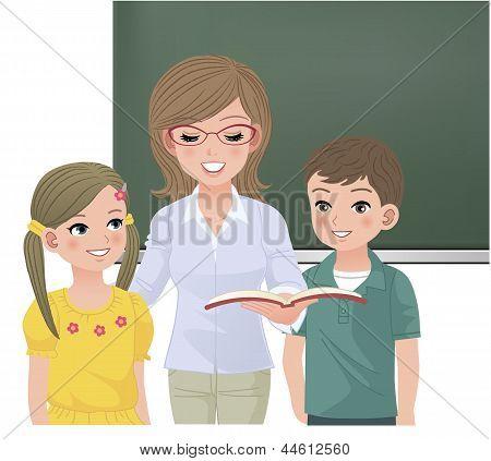 School Teacher Reading Aloud For Pupils