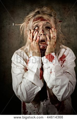 Shock Horror. Surprised Businesswoman Zombie