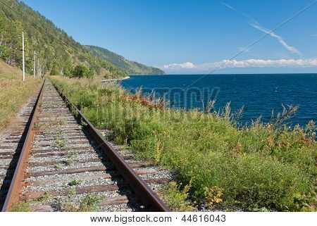 the old Trans Siberian railway on the shores of lake Baikal - Russia poster