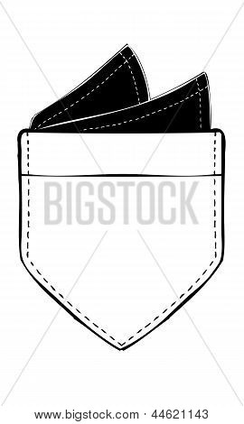 Isolated Vector Illustration of Pocket with Pocket Square