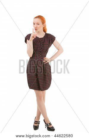 Woman Making A Hushing Gesture