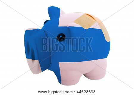 Closed Piggy Rich Bank With Bandage In Colors National Flag Of Finland