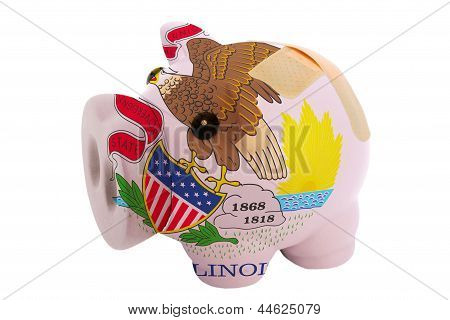 Closed Piggy Rich Bank With Bandage In Colors Flag Of American State Of Illinois