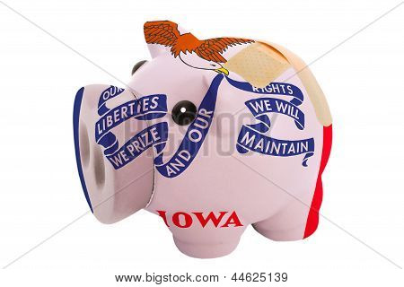 Closed Piggy Rich Bank With Bandage In Colors Flag Of American State Of Iowa