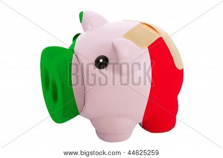 Closed Piggy Rich Bank With Bandage In Colors National Flag Of Italy